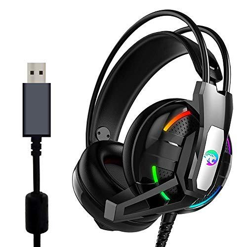 USB-Gaming-Headset, 7.1 Surround-Sound, Gaming-Kopfhörer mit Mikrofon, Lautstärkeregler, LED-Licht für PC, MAC, iOS, Android (schwarz) (Plug-in-licht-spur)