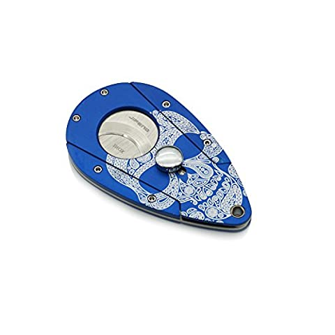 All Duty Metal Construction Painted Skull in Blue Ground Zigarre Cutter / Schere mit 2 Blades