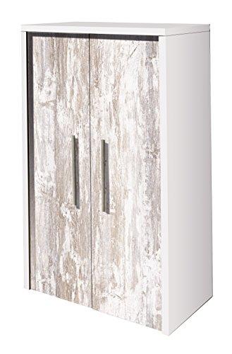 OVERHOME365 2218 B/V - Zapatero, madera, color blanco y vintage, 60.5x36x100 cm