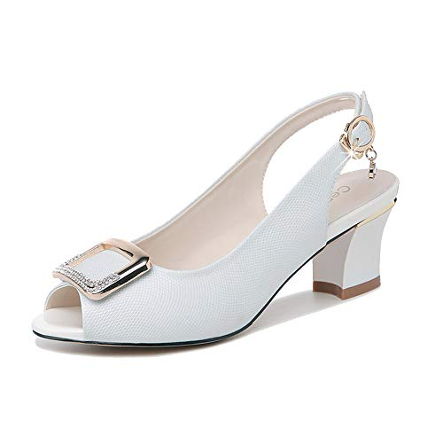 GENLLV Mode Sandalen für Frauen Mary Janes Peep Toe Absatz Blockabsatz Schuhe Leder High Heel Work Office Knöchelriemen Schuhe Pumps,White-35EU -