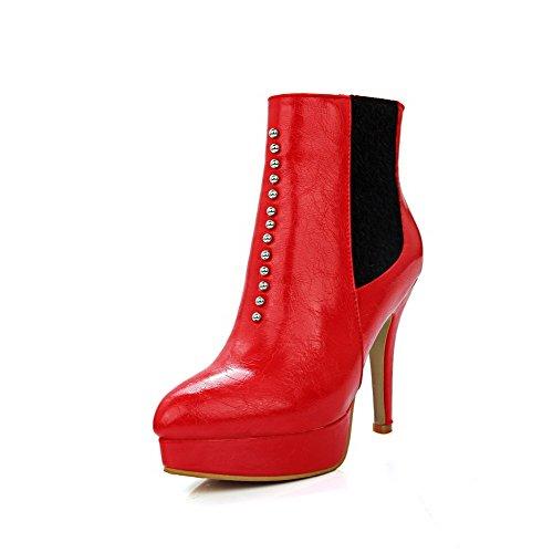 AgooLar Damen Reißverschluss Niedrig-Spitze Blend-Materialien Spitz Zehe Stiletto Stiefel, Rot, 33