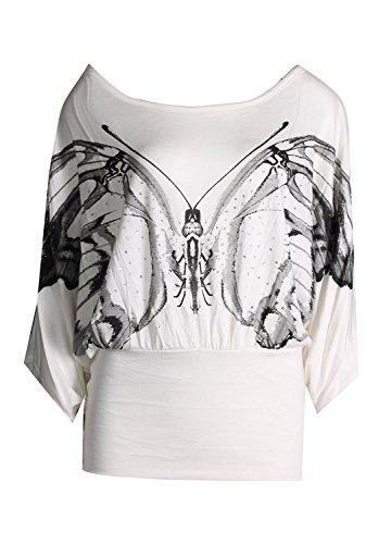 Fast Fashion -Top Épaule De Paillette D'impression De Papillon Paillettes Chauve-Souris Ample - Femmes Crème