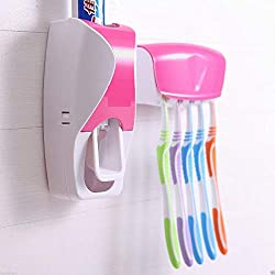 Harikrishnavilla Plastic Automatic Toothpaste Dispenser and 5 Toothbrush Holder for Home Bathroom, Multicolour