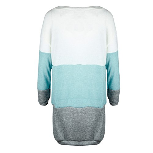 Automne Hiver Femme Casual Moderne Col Rond Manche Longue Pulls Robe Mini Tricot Robes Sweater Longue Pullover Blouse Tops Bleu