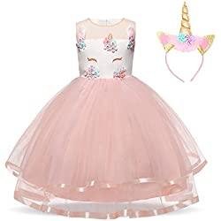 NNJXD Filles Licorne Party Costume Fleur Cosplay Mariage Halloween Fantaisie Princesse Robe + Chapeaux Taille (110) 3-4 Ans Rose
