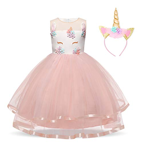 NNJXD Filles Licorne Party Costume Fleur Cosplay Mariage Halloween Fantaisie Princesse Robe + Chapeaux Taille (100) 2-3 Ans Rose