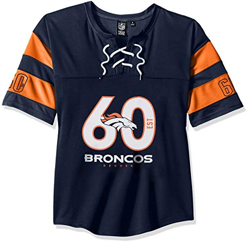 Damen Hockey Jersey (NFL Denver Broncos Damen Hockey-T-Shirt, Netzstoff, Spitze, Gr. S, Marineblau)