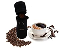 Mini portable espresso maker machine by NIMBOODA, manual pressure, hand held, ideal for ground coffee, use at home, take to the office or on the go outdoors/travelling, great for camping, no electric, no battery, (Black)