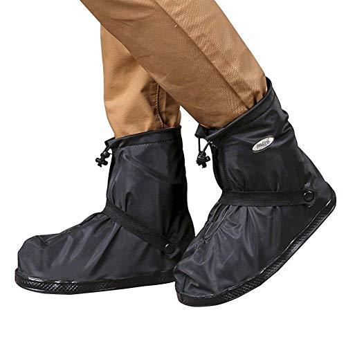 copriscarpe impermeabili in pvc con suola antiscivolo rinforzata modello basso con zip taglia per moto, sport, giardinaggio, black,xl