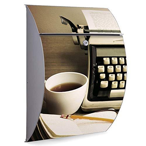 Burg Wächter Edelstahl Standbriefkasten   Modell Riviera 46cm x 33,5cm x 13cm groß mit Ständer   Postkasten freistehend, großer A4 Einwurf, 2 Schlüssel   Briefkasten mit Motiv Schreibmaschine