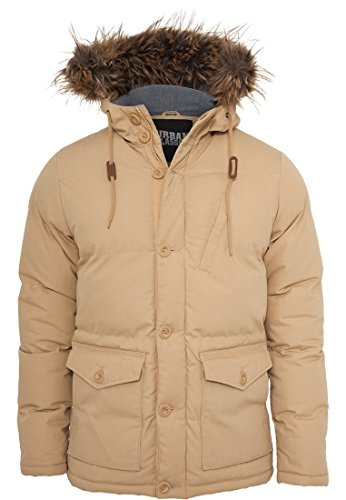 Chambray Lined Parka Urban Classics Streetwear Giacca Invernale Uomo beige