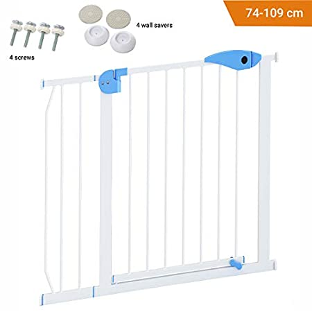 Avantina Tür-und Treppenschutzgitter – erweiterbar mit Verlängerung von 7 cm -Treppenschutzgitter ohne Bohren aus Metall – bis zu 96 cm Verlängerbar
