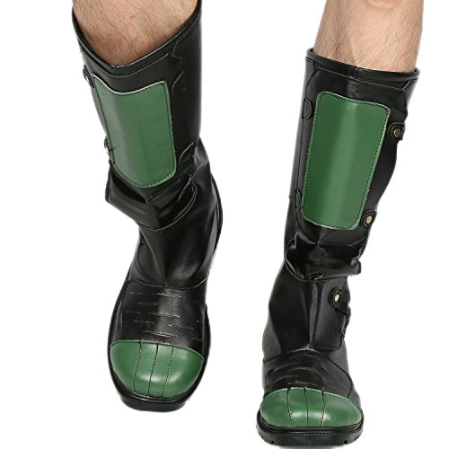 Herren Cosplay Stiefel Schwarz&Grün PU Schuhe Halloween Verrücktes Kleid for Erwachsene Male (Dredd Kostüm Halloween)