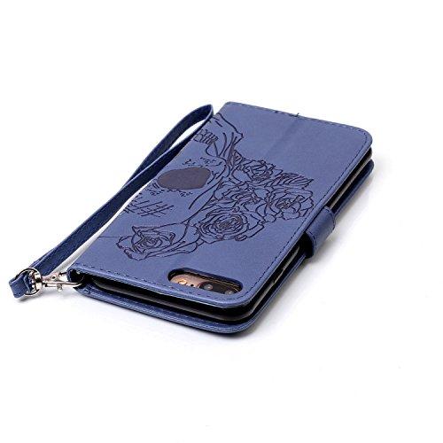 iPhone 8 Plus Hülle, STENES Stilvoll Serie Kartenfach Standfunktion Magnet Ledertasche Wallet TPU Stoßfänger Schutzhülle für iPhone 7 Plus / iPhone 8 Plus - Sonnenblumen / Gold Rosen Schädel Blumen / Blau
