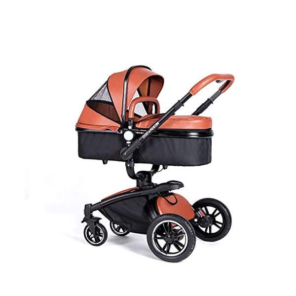 Meen Baby Stroller, High Landscape Leather Two-Way Car 360 Degree Folding Shock Can Sit Lie Baby Car (Color : Brown) Meen * EASY TO FOLD: It can be used in one-button car collection, easy to handle all kinds of occasions, save space, easy to carry, easy and labor-saving * SAFETY SYSTEM: Baby stroller adopts 5-point safety belt, high quality design is safer, and 5-point structure is safer * ADJUSTABLE BACKREST - The stroller backrest can be adjusted at any angle, and the pedal can be adjusted according to the baby's needs, giving the baby a more comfortable experience 1