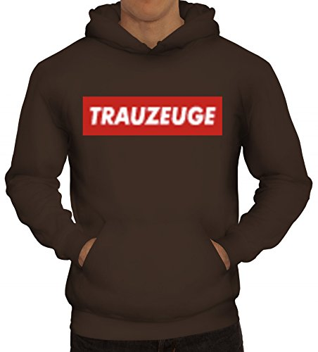(Herren Hoodie Trauzeuge Geschenkidee Partner Gruppen Kostüm Mode JGA Party Graffiti Streetart Style, Größe: XXL,braun)