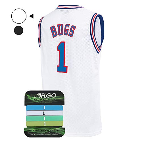 Fan Kostüm Basketball - AFLGO Bugs Space Jam Jersey Basketball Jersey Set Glow in The Dark Armbänder S-XXL Weiß, weiß