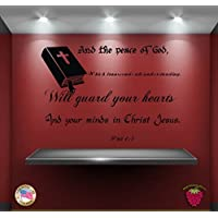GGWW Wall Stickers Religion Bible Quote Phil 4:7: And The Peace Of God, Which Transcends All Understanding Zz025