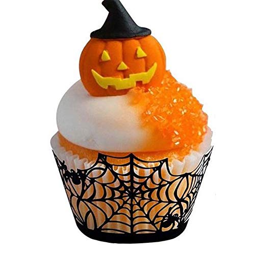 Sel-More 12Cupcake Wrappers Spinnennetz Pappbecher Backförmchen Muffin Fall Tabletts für Hochzeit Halloween Party Geburtstag Dekoration As Shown 1 12pc