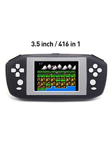 3.5 pulgadas de juegos de pantalla LCD de mano consola de videojuegos consola incorporada 416 juegos retro consola de juegos portátil apariencia diseñada específicamente para Europa (azul) (Black)