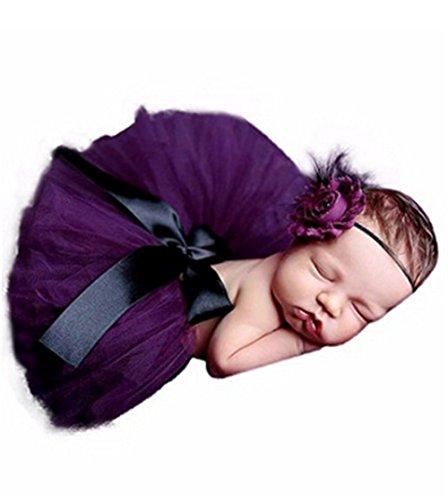 Hengsong Neugeborenes Baby Rock Tutu Kleidung Trikot Kostüm Foto Prop Outfits Bekleidung Set (Kostüm Lila Rock)