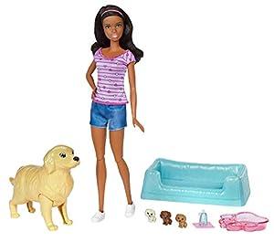 Barbie- Newborn Pups Doll & Pets Juguete, Multicolor (FDD44)