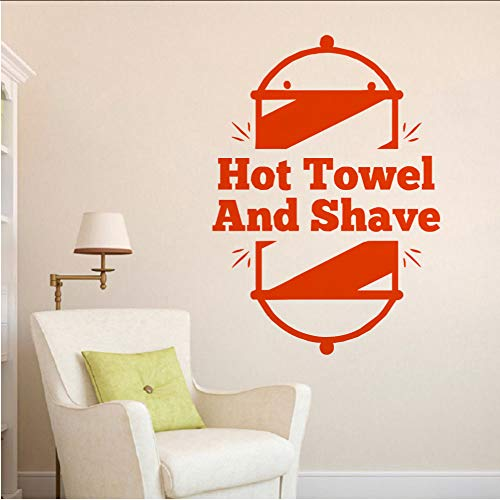 Chellonm Barber Shop Wandkunst Handtuch Warm Und Rasur Logo Wandaufkleber Barbers Dekoration Wandbild Neues Design Türkische Barbers Aufkleber 42 * 59 Cm