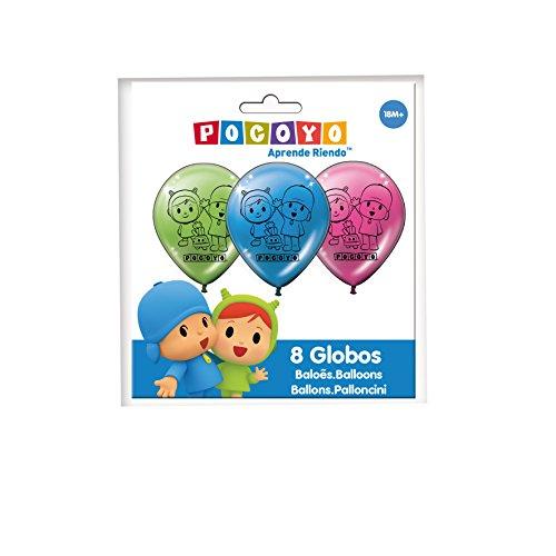 Verbetena 016001512, pack 8 party and birthday balloons Pocoyo and Nina,