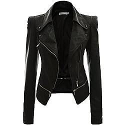 NiSeng Chaqueta para Mujer Chaquetas Imitación Cuero Moto Cazadoras Chaqueta de Motorista Entallada Negro 3XL