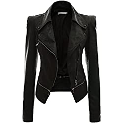 NiSeng Chaqueta para Mujer Chaquetas Imitación Cuero Moto Cazadoras Chaqueta de Motorista Entallada Negro S