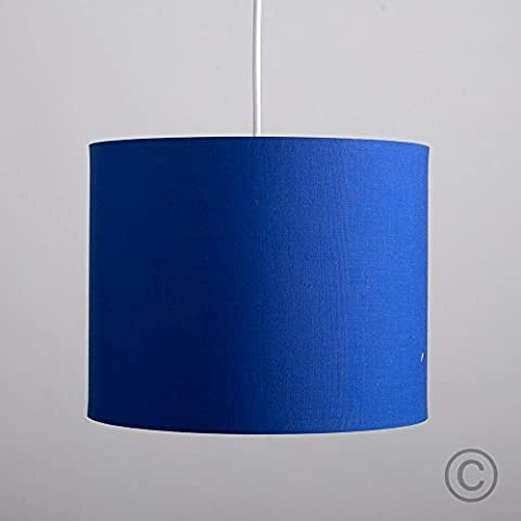 Small Modern Rolla Polycotton Blue Cylinder Ceiling Pendant / Table Lamp Drum Light Shade