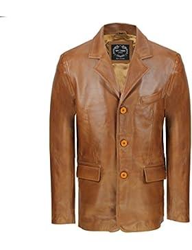 Chaqueta para hombre negra y marrón, de suave piel auténtica de oveja, estilo retro, longitud media