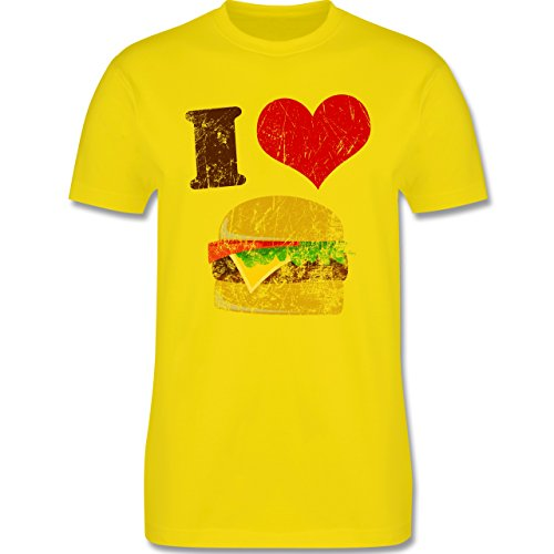 lustige Fotomotive - I love Burger - L190 Herren Premium Rundhals T-Shirt Lemon Gelb