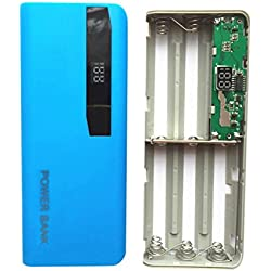 Batterie externe avec 2 ports USB et affichage LED - recharge jusqu'à 5 x piles Li-on 18650 - compatible avec iPhone ; Samsung ; Huawei ; XiaoMi ; iPad ;iPod ; lampes torches , multicolore