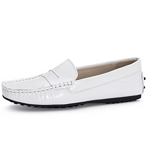 ozzeg-2016-new-ladies-womens-genuine-leather-loafer-style-shoes-4-uk-white