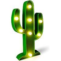 Lámpara de luz LED para noche Lámpara de mesa con batería para artículos de fiesta-Decoración de pared para sala de niños, sala de estar, dormitorio (Cactus)