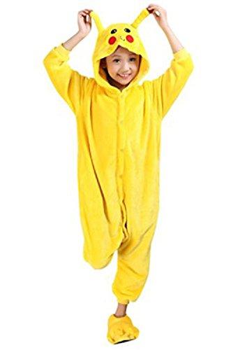 Auspicious beginning Pikachu Kind Schlafanzüge Tier Cosplay Kostüm Baby-Body Sleepsuit Freizeitkleidung Kigurumi (Pokemon Kostüme Cosplay Mädchen Für)