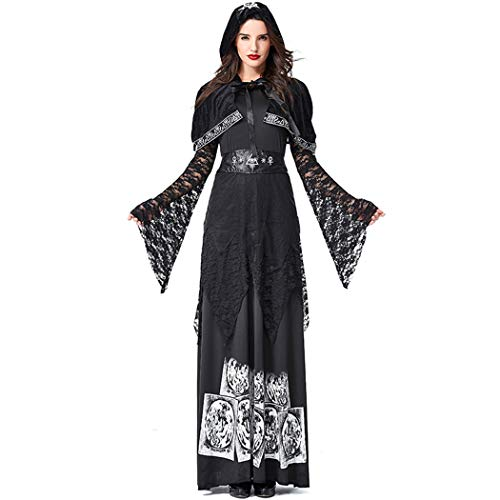 Jeff-chy Halloween Frauen-Hexe-Kostüm-Maskerade-Partei-Party Anzug Tod Verkleiden Robe Witcher (Umfang Messung Für Kostüm)