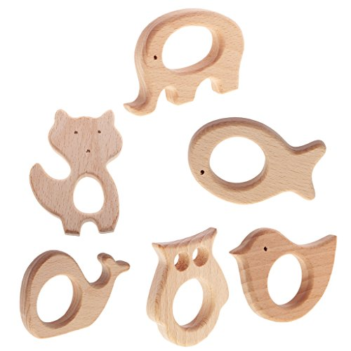MagiDeal 6 Stücke Babypflege Schmuck Beißring aus Holz für Kleinkind - Kinderspielzeug