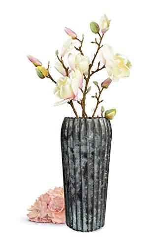 Sendez Große Vase aus Mettal Bodenvase Dekovase Blumenvase Trockenblumen Tischvase Metallvase (Dunkel)