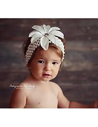 Bandeau+barrette bébé/fille, modèle Tropicale Blanc