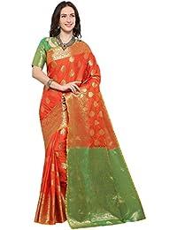 6f2fb4ebe1422f EthnicJunction Art Silk Saree with Blouse Piece (EJ1175-1002X Carrot  Orange Free Size)