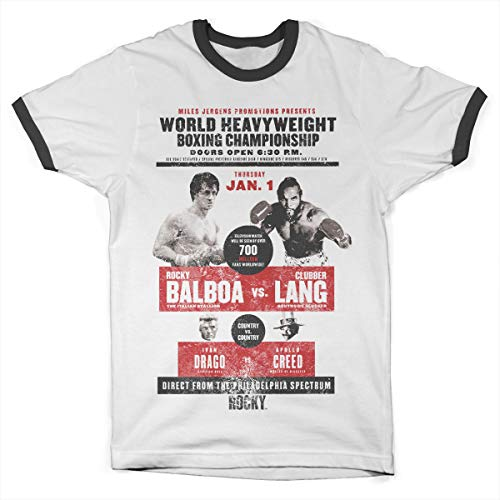 Rocky Offizielles Lizenzprodukt World Heavyweight Poster Ringer Herren T-Shirt (Weiß-Schwarz), XX-Large - American Heavyweight T-shirt