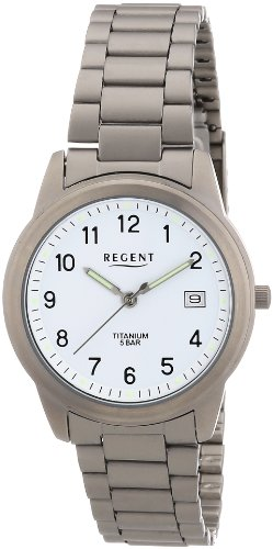 Regent 11090212 - Reloj analógico de cuarzo para hombre con correa de titanio, color gris