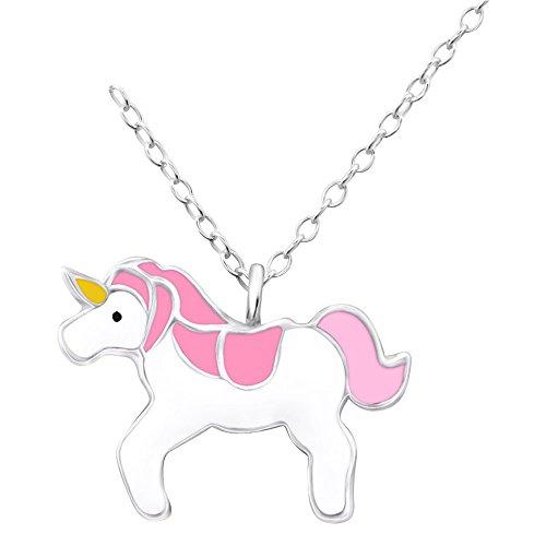 Laimons Kids Kinder-Anhänger mit Kette Einhorn Rosa, Pink, Weiß, Gelb Sterling Silber 925