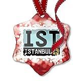 NEONBLOND Weihnachten Ornament Flughafen Code ist/Istanbul Land: Türkei, Rot