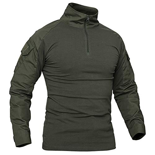 donhobo Herren Tactical Shirt Combat Shirt Flecktarn Slim Fit Langarm Camouflage Shirt Paintball Airsoft Army Hemd Bundeswehr T-Shirt Militär Uniform Männer (Armeegrün, M) (Combat Uniform Army Hemd)