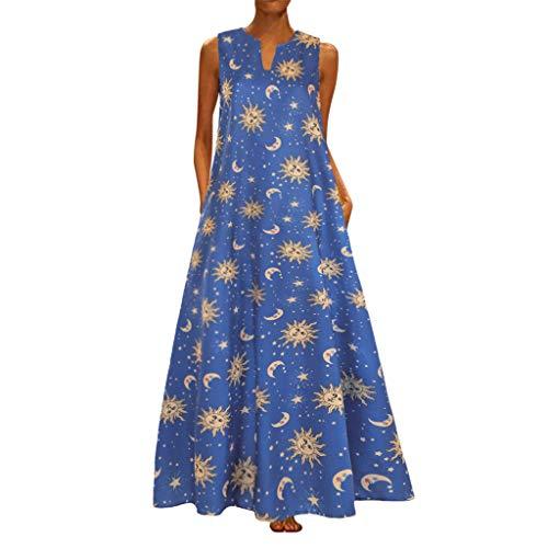 Vintage Robe Femme Bohème Kaftan Robe Longue Maxi Coton Col V sans Manches Imprimé Star Moon Chic RobeWUDUBE