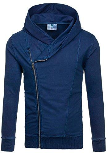 BOLF – Felpa con cappuccio – Con cerniera – Sweatshirt – RED FIREBALL 1897 – Uomo Blu scuro