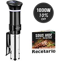 VPCOK Sous Vide Roner Cocina Baja Temperatura, 1000W, Pantalla LCD táctil, Temporizador, Cocinero Circulador, Máquina de Cocción al Vacío de Acero Inoxidable, Recetario